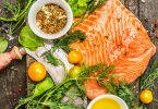 Salmon fillet with fresh herbs vegetables
