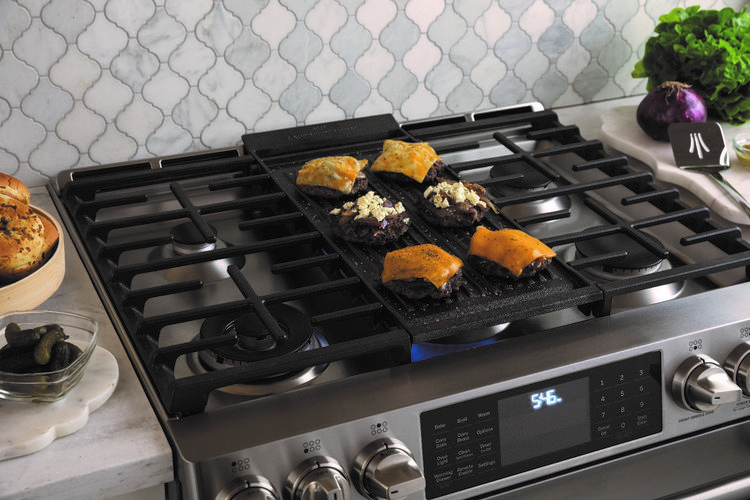 GE Profile slide-in range with reversible grill