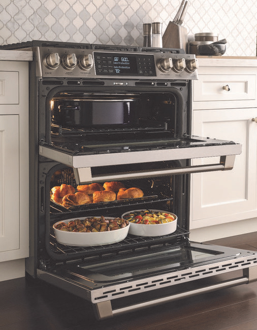 GE Cafe slide-in range with double oven