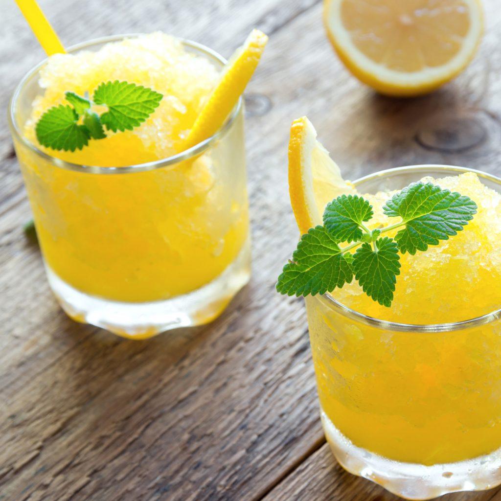 flaked ice in lemon slushie