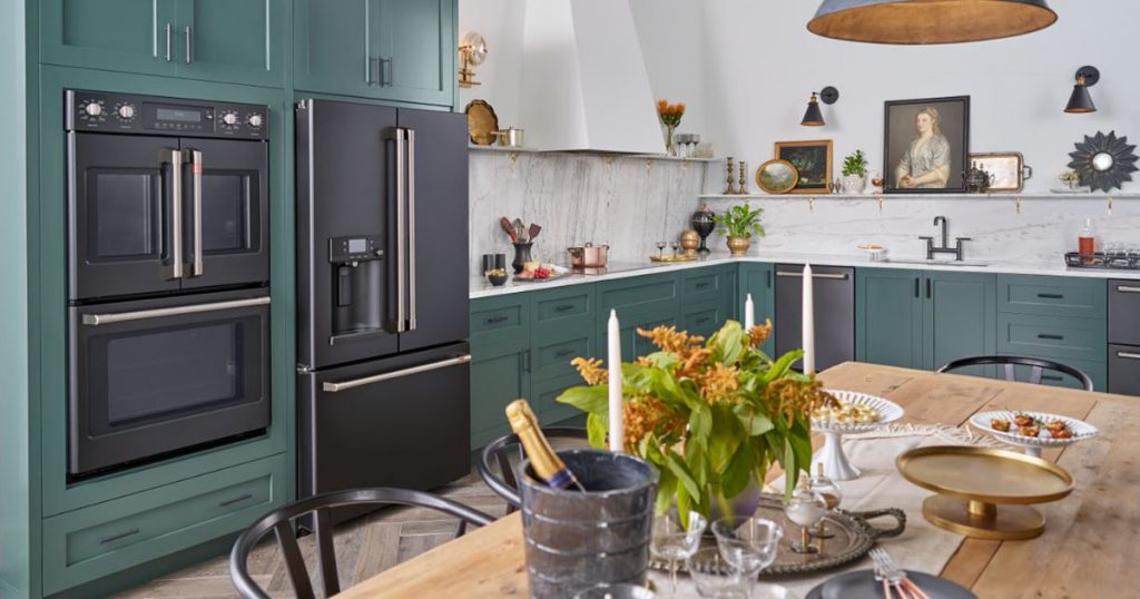 Kitchen feature the GE Cafe Matte Collection in black