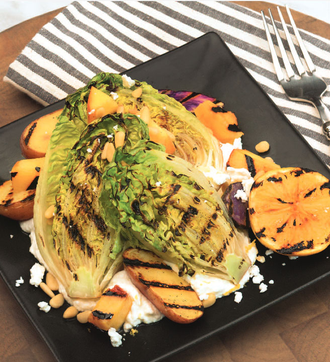 Grilled Romaine and Stone Fruit Salad with Feta Spread