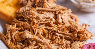 Close up of pulled pork sandwich