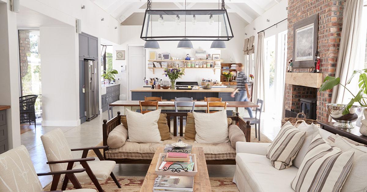 Open plan interior of a modern family home