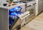 Thermador Star Sapphire open dishwasher with blue glow