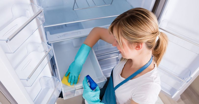 View of woman cleaning refrigerator