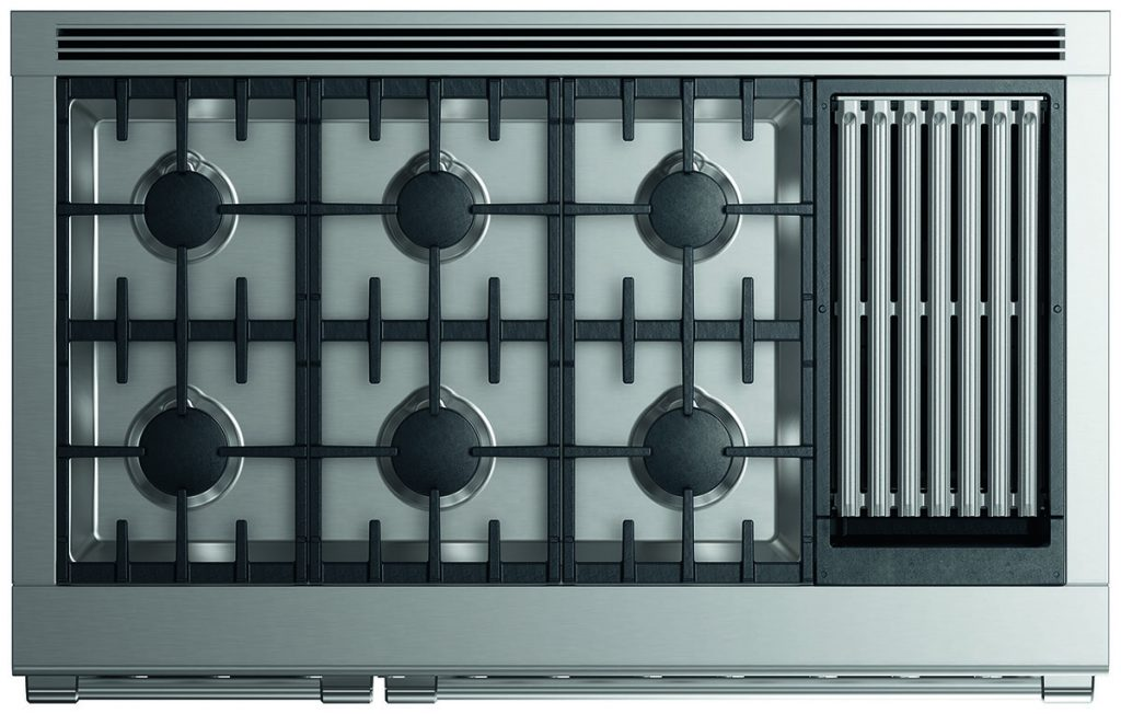 Fisher Paykel range with 6 burners and indoor grill