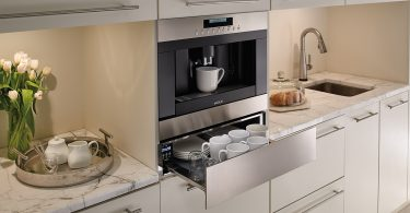 Wolf built in coffee with open warming drawer