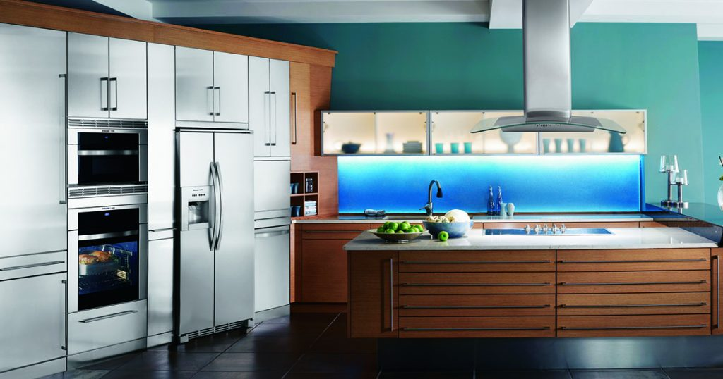 Electrolux kitchen featuring a counter-depth refrigerator