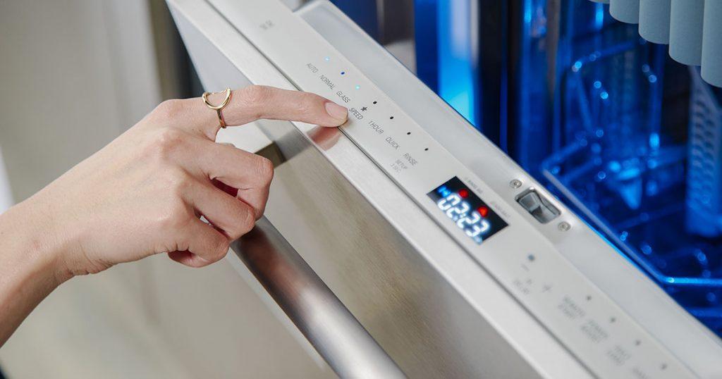 Close up of dishwasher controls