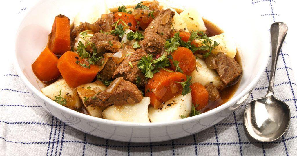 warm home made Irish beef stew with potato