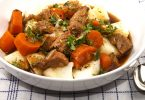 warm home made Irish beef stew with potato