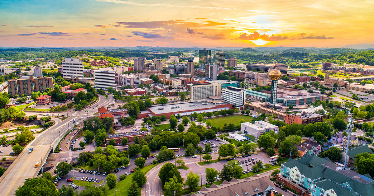 Knoxville, Tennessee, USA Downtown Skyline Aerial