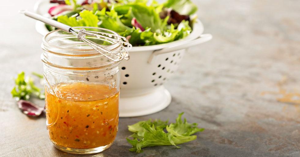 homemade vinaigrette dressing in a mason jar